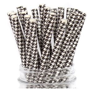(1) 12 Pack Black & White Houndstooth Straws NIP